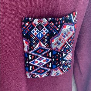 Zara Burgundy Tunic with Patterned Pocket